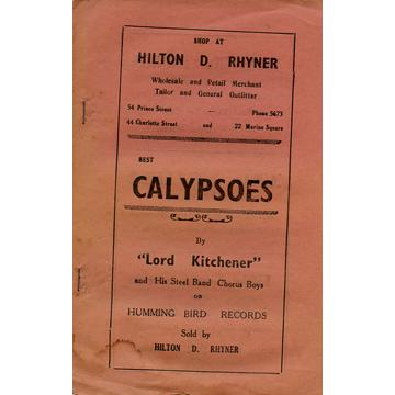 Lyric Book - Best Calypsoes (14 pages) (Printed in Trinidad)